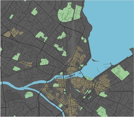 Geneva vector map with dark colors.
