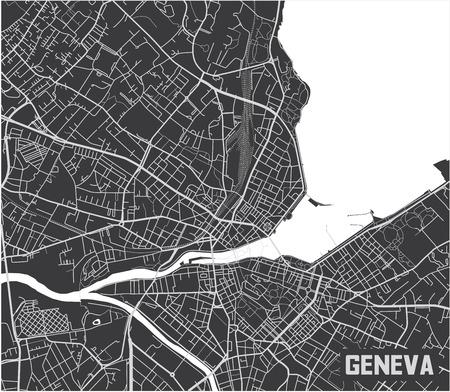 Diseño minimalista del cartel del mapa de la ciudad de Ginebra.