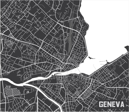 Minimalistic Geneva city map poster design.