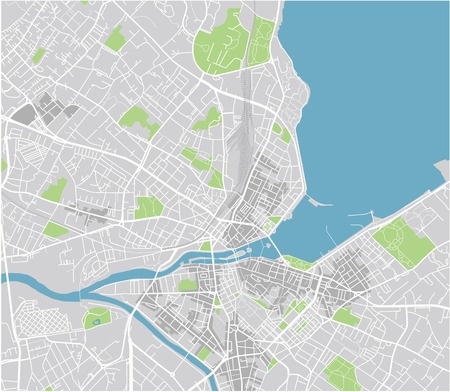 Vector city map of Geneva with well organized separated layers.