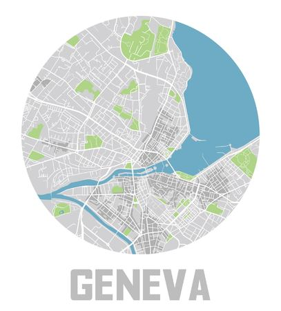 Minimalistic Geneva city map icon. Banque d'images - 122638465