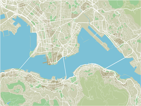 Vector city map of Hong Kong with well organized separated layers.