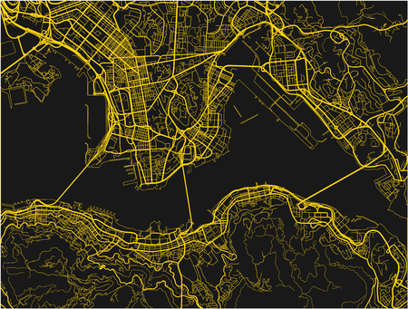 Black and yellow  vector city map of Hong Kong with well organized separated layers. Ilustração
