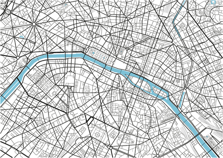 Black and white vector city map of Paris with well organized separated layers. Archivio Fotografico - 122644606