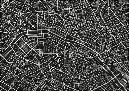 Black and white vector city map of Paris with well organized separated layers.