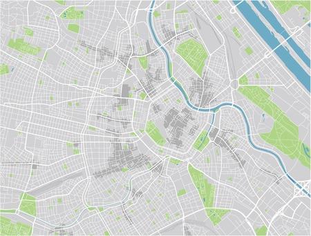 Wektorowy plan miasta Wiednia z dobrze zorganizowanymi oddzielnymi warstwami.