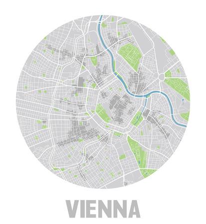 Minimalistic Vienna city map icon.