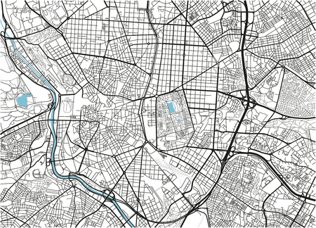Black and white vector city map of Madrid with well organized separated layers.