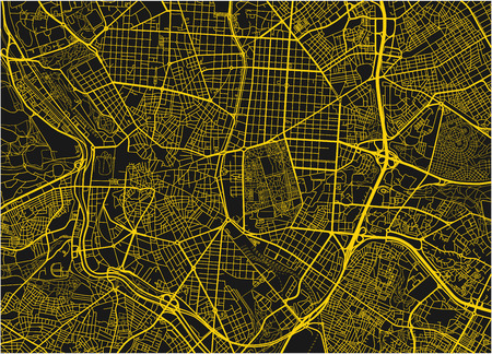 Black and yellow vector city map of Madrid with well organized separated layers.