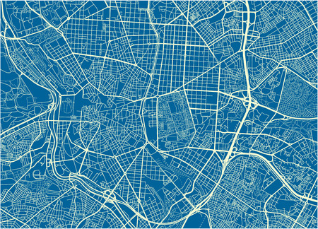 Blue and White vector city map of Madrid with well organized separated layers. Illustration