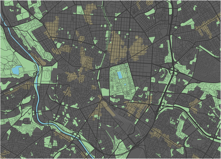 Madrid vector map with dark colors.