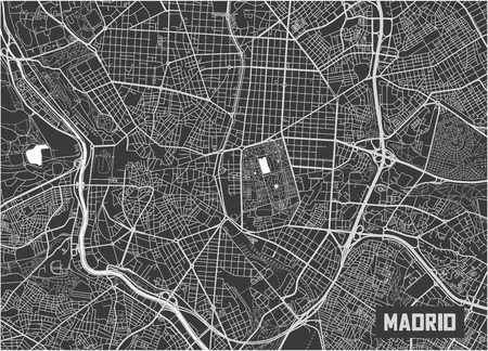 Minimalistic Madrid city map poster design. Illustration