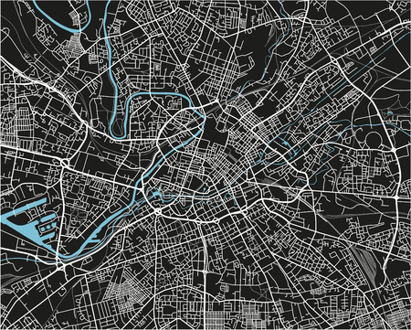 Black and white vector city map of Manchester with well organized separated layers.