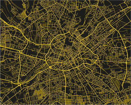 Black and yellow vector city map of Manchester with well organized separated layers.