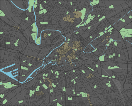 Manchester vector map with dark colors. Ilustração