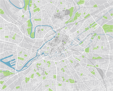 Vector city map of Manchester with well organized separated layers. Иллюстрация