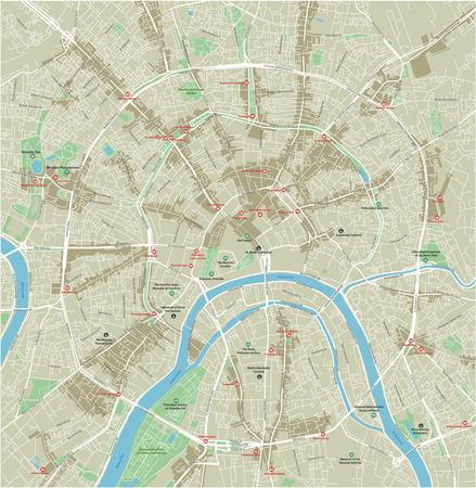 Vector mapa de la ciudad de Moscú con capas separadas bien organizadas.