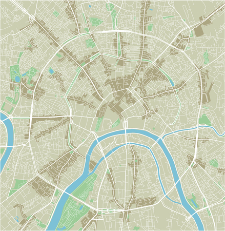 Vector city map of Moscow with well organized separated layers. Vektoros illusztráció