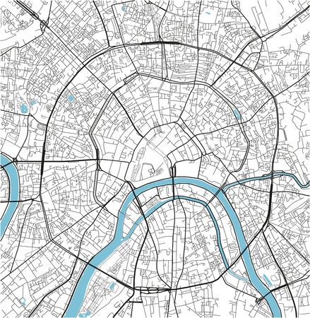 Black and white vector city map of Moscow with well organized separated layers.