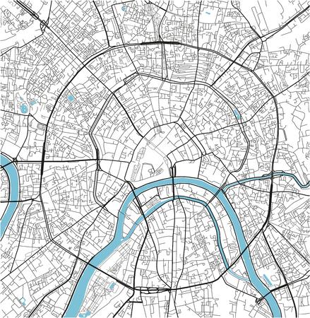 Mapa de la ciudad de vector blanco y negro de Moscú con capas separadas bien organizadas.