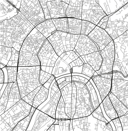 Black and white vector city map of Moscow with well organized separated layers. Vektoros illusztráció