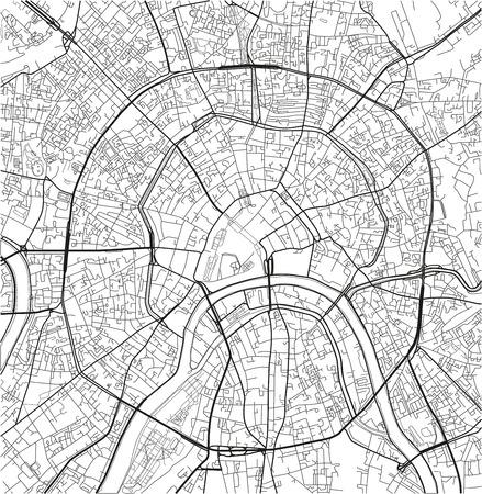 Mapa de la ciudad de vector blanco y negro de Moscú con capas separadas bien organizadas. Ilustración de vector