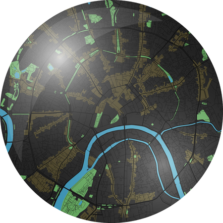 Moscow vector map with dark colors.