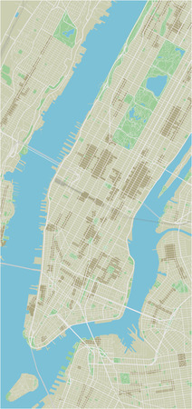 Vector city map of New York with well organized separated layers. Ilustração