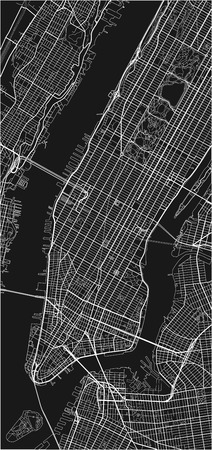 Black and white vector city map of New York with well organized separated layers. 일러스트