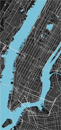 Black and white vector city map of New York with well organized separated layers. Illustration