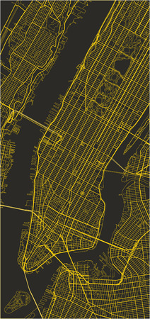 Black and yellow vector city map of New York with well organized separated layers. Illustration