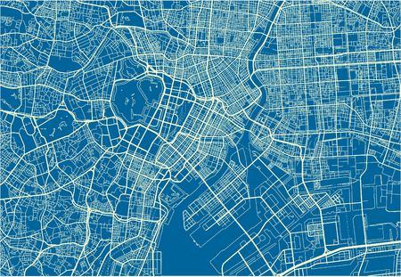 Blauer und weißer Vektorstadtplan von Tokio mit gut organisierten getrennten Schichten. Vektorgrafik