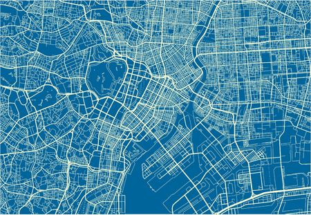 Blue and White vector city map of Tokyo with well organized separated layers. Vetores