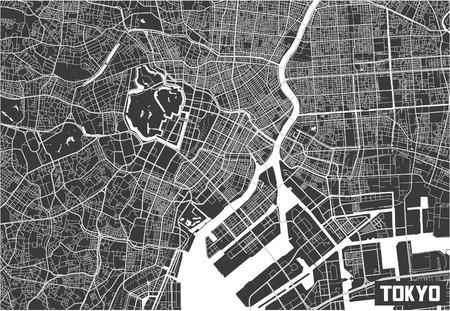 Minimalistic Tokyo city map poster design.