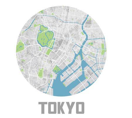 Minimalistisches Tokio-Stadtplansymbol. Vektorgrafik