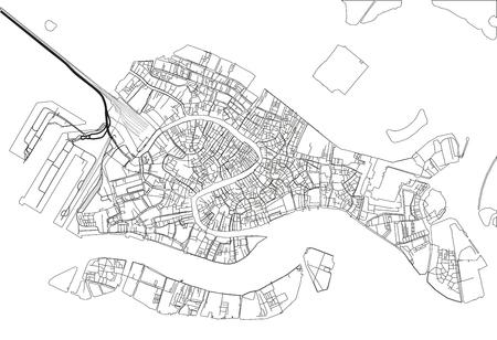 Mapa de la ciudad de vector blanco y negro de Venecia con capas separadas bien organizadas.