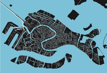 Mappa vettoriale in bianco e nero della città di Venezia con strati separati ben organizzati. Vettoriali