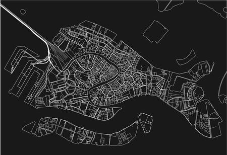 Mappa vettoriale in bianco e nero della città di Venezia con strati separati ben organizzati.