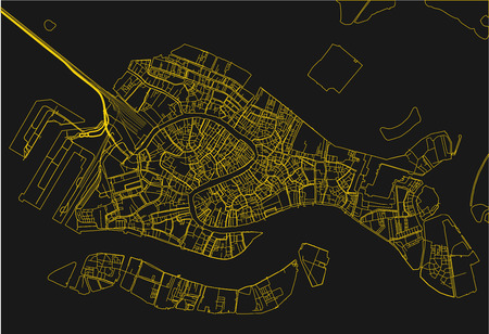 Black and yellow vector city map of Venice with well organized separated layers.