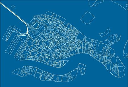 Mapa de la ciudad de vector azul y blanco de Venecia con capas separadas bien organizadas.