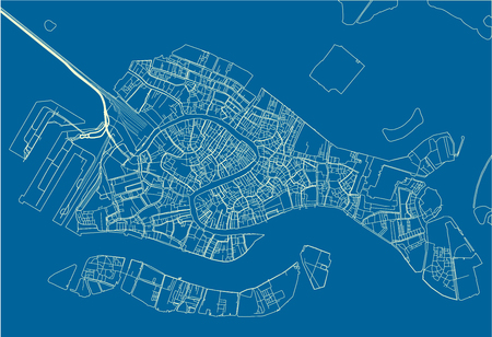 Mappa vettoriale blu e bianca della città di Venezia con strati separati ben organizzati.