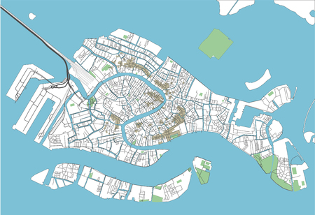 Colorful Venice vector city map