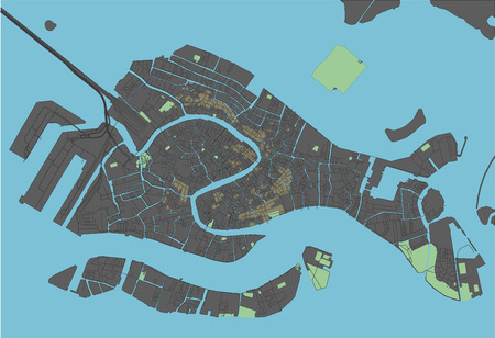 Venice vector map with dark colors.