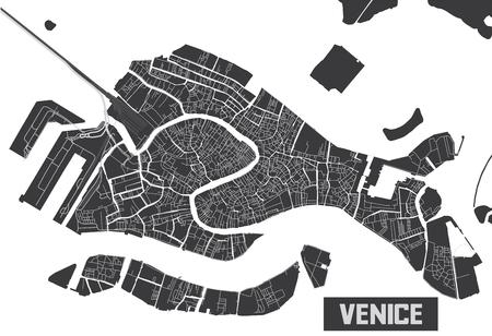 Diseño minimalista del cartel del mapa de la ciudad de Venecia.