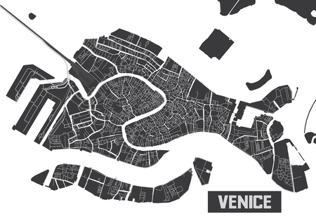 Minimalistic Venice city map poster design.