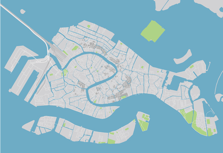 Vector city map of Venice with well organized separated layers.