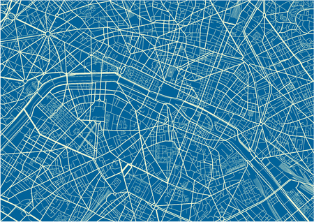 Blue and White vector city map of Paris with well organized separated layers. Illustration
