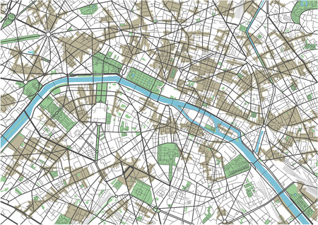 Colorful Paris vector city map