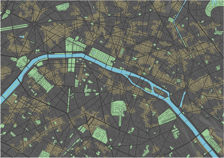 Paris vector map with dark colors.