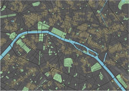 Paris vector map with dark colors.